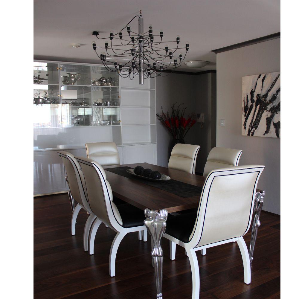 Dining With Style   Carrol Boyes Man Aluminium Legs, USA Walnut Veneered  Table Top,