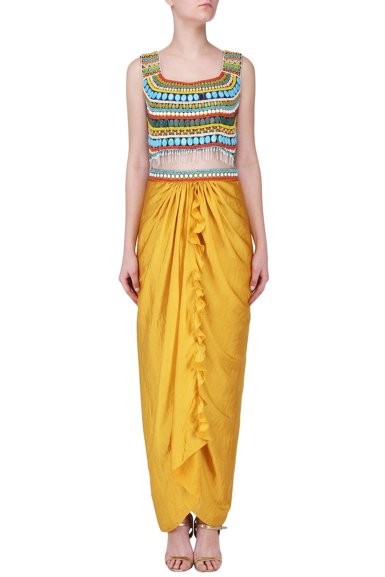 fd7f2c329066a RUHMAHSA Mustard Beaded Crop Top and Drape Skirt Set. Shop Now!  ruhmahsa   ethnic  mustard  croptop  beaded  drapeskirt  silk  fringes  indianfashion  ...