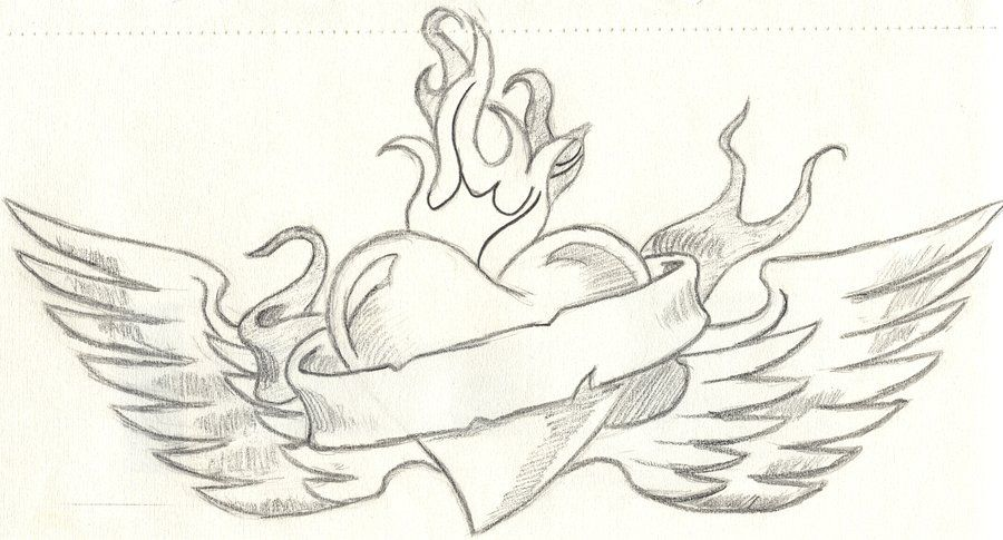 Cool Heart With Wings By Cjgolden73088 On Deviantart Cool Heart Drawings Heart Drawing Drawings