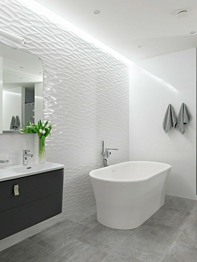 white bathroom wall tile