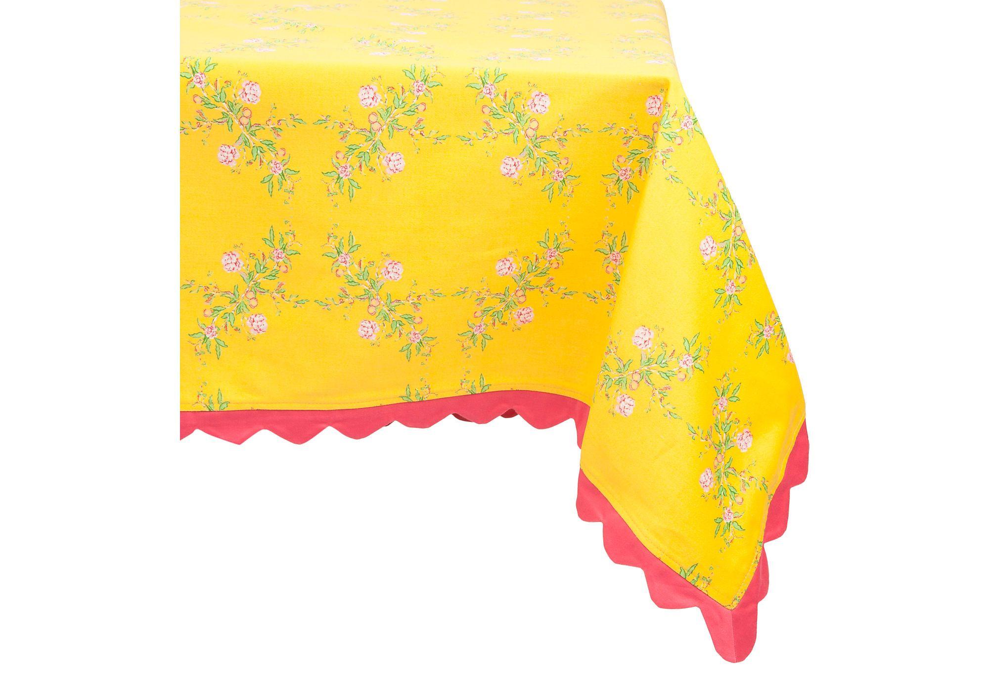 "Sam Mackenzie, Tea Rose Cotton Tablecloth, Yellow 70"" x 90"