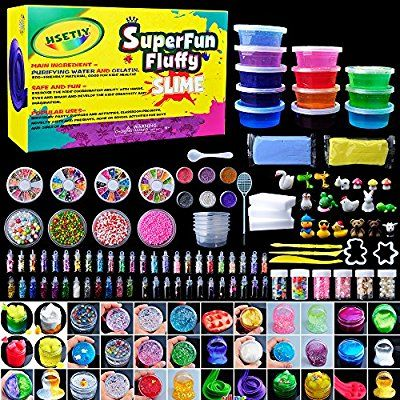 99faa2924 HSETIY Super Slime Kit Supplies-12 Crystal Clear Slimes with 54 Packs  Glitter Sheet Jars, 3 Jelly Cubes,4 Pcs Fruit Slices,16 pcs Animals Beads,  ...