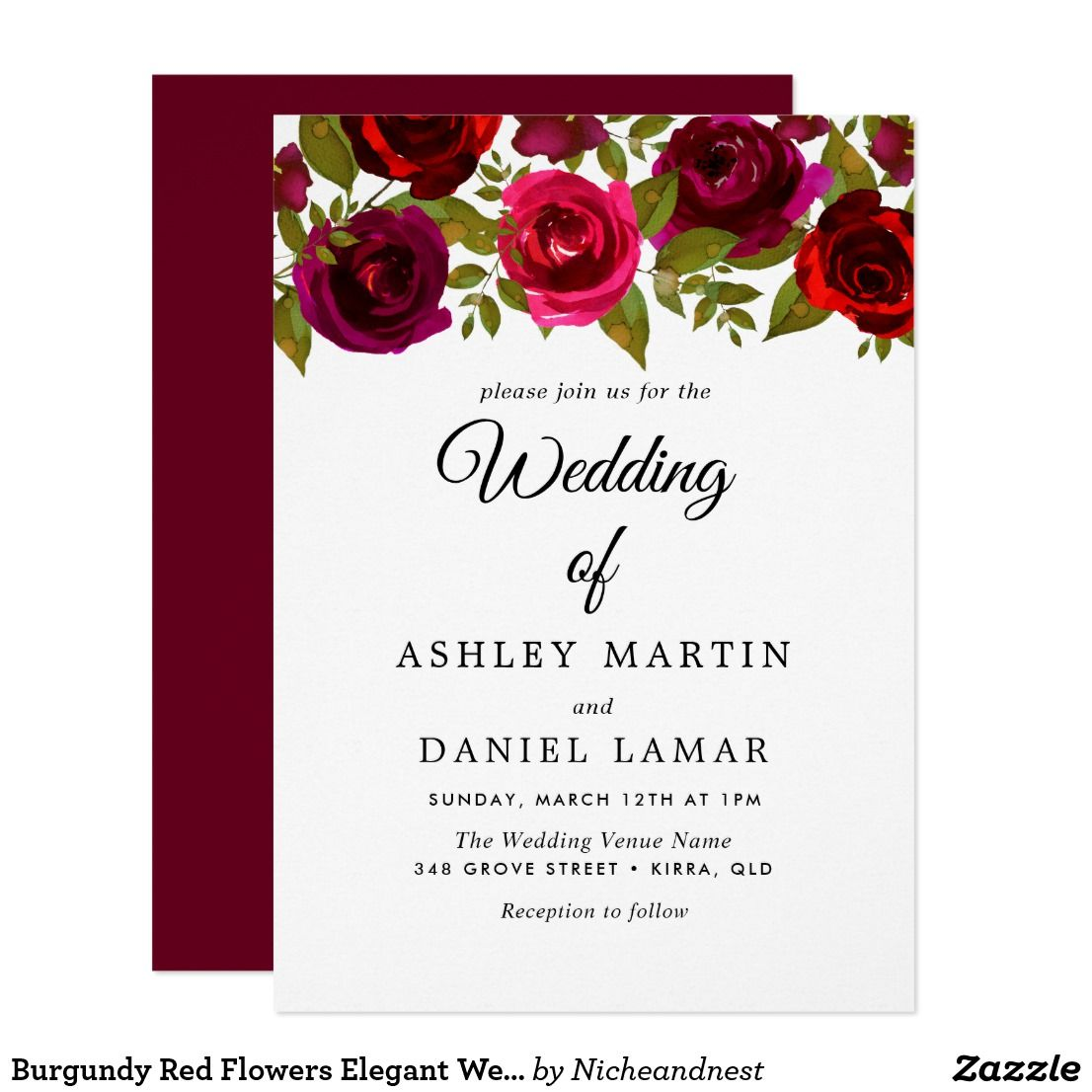 Burgundy Red Flowers Elegant Wedding Invitation | Wedding ...
