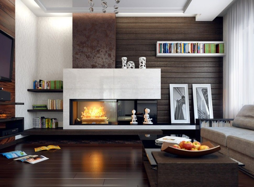 Living room living rooms alive modern fireplace sofa with drawers glass coffee table shelves - Build contemporary fireplace ideas ...