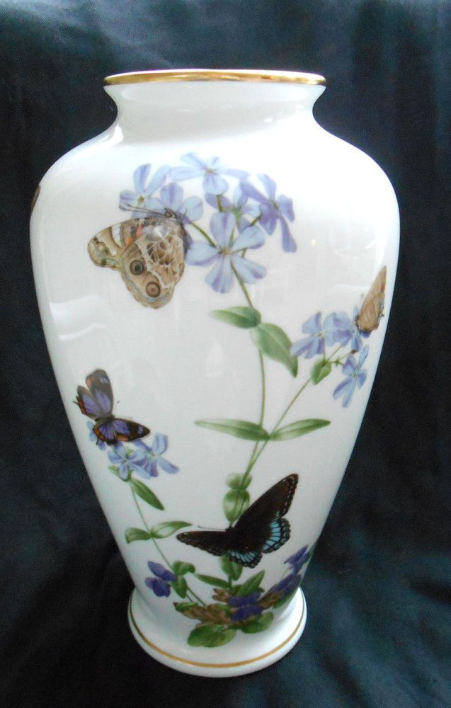 1981 Edition Franklin Mint Meadowland Butterfly Vase By John