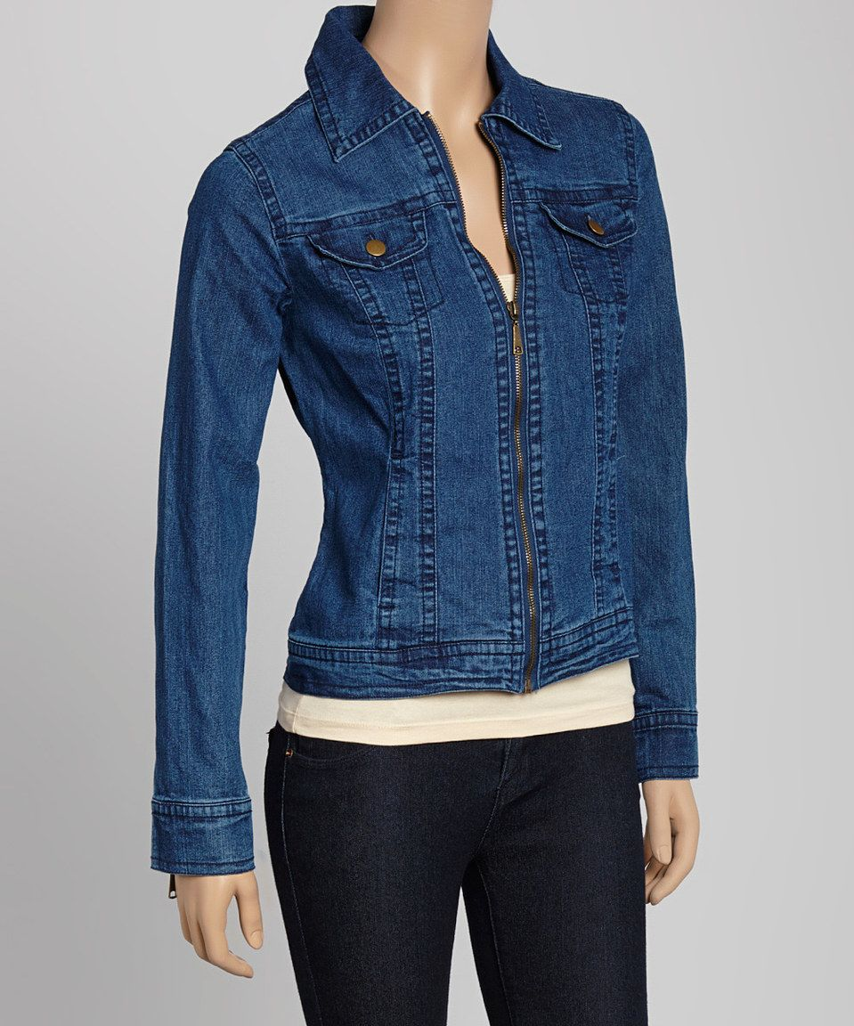 Love this Live A Little Vintage Denim Zip-Up Jacket by Live A Little on #zulily! #zulilyfinds