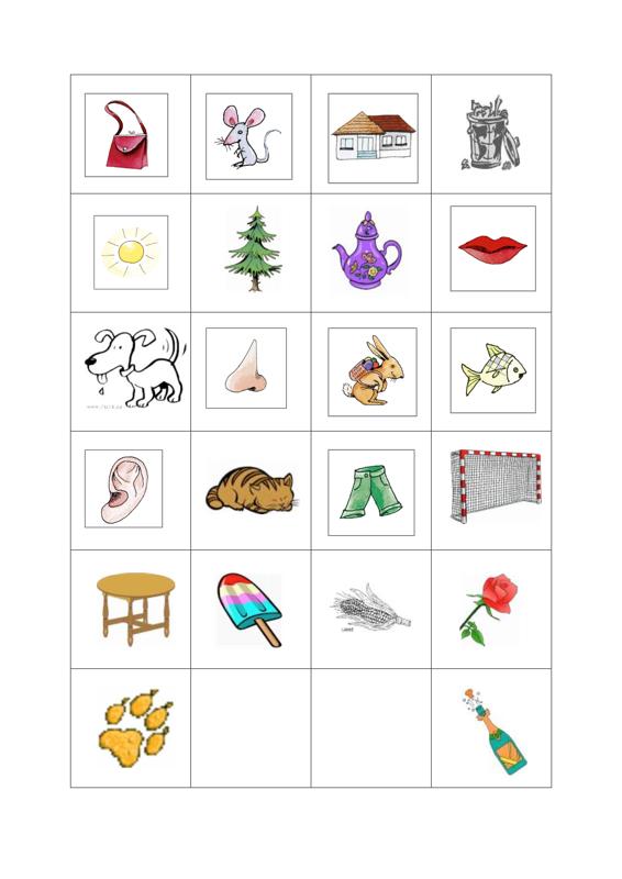 Bilder-Memory Reimwörter - Dyslalie, SES | kuvat | Pinterest ...