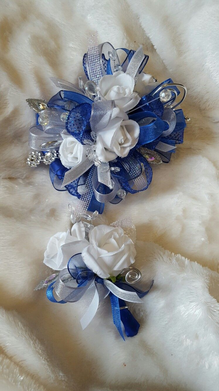 Royal Blue White And Silver Prom Corsage Set From Hen House Designs