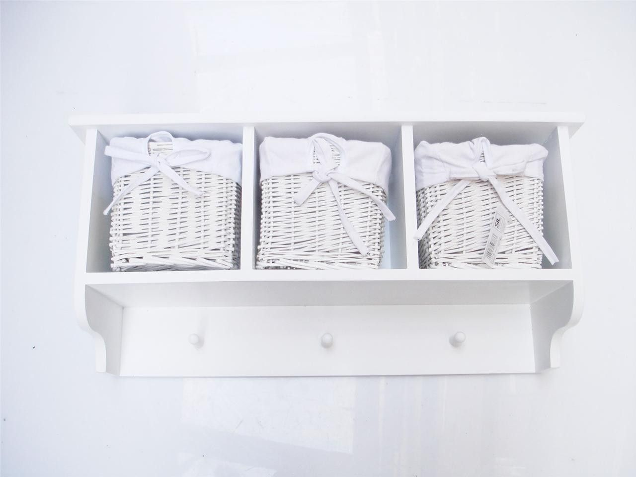 Hallway key storage  White Shabby Chic Hallway Shelf With  or  Basket Hooks Key Coat