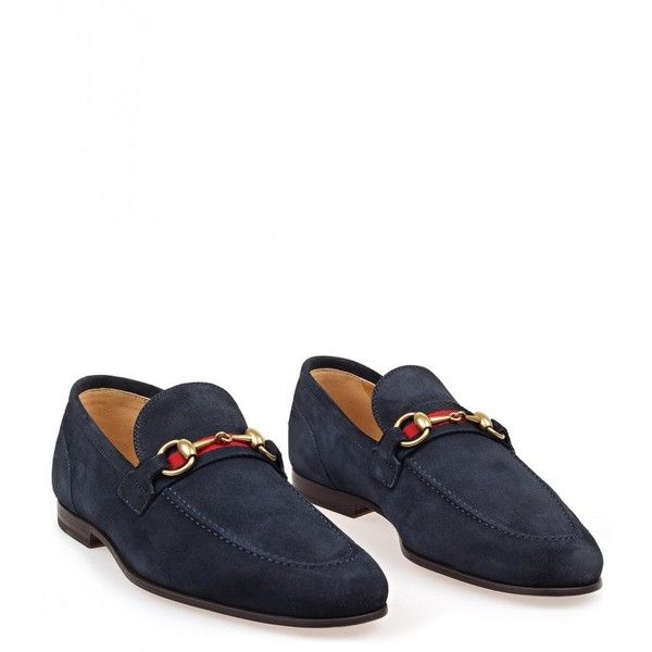 65b11722920 Gucci Blue Suede Horsebit Loafers (7.100.080 IDR) ❤ liked on Polyvore  featuring men s fashion