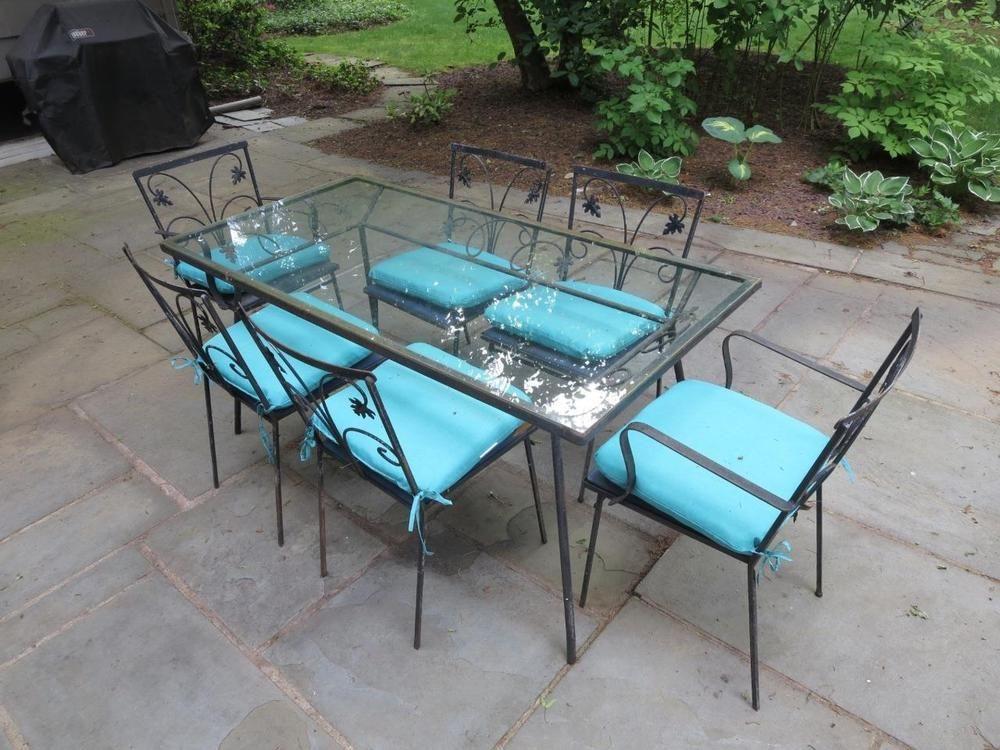 salterini outdoor furniture. Details About VTG JOHN SALTERINI / Woodard Iron 1960s Patio Dining Table 6 Chairs Glass Top Salterini Outdoor Furniture E