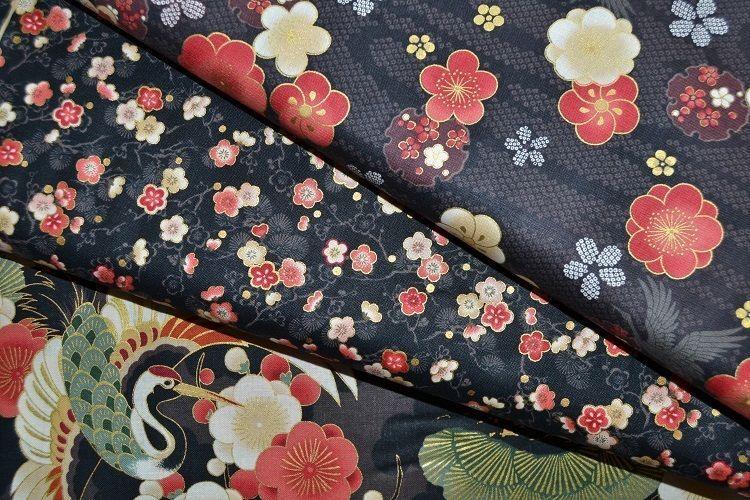 lot de 3 coupons de tissu patchwork bleu marine coordonnés 24x55cm