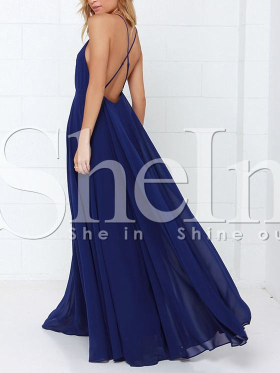 """""""Blue Spaghetti Strap Backless Maxi Dress"""" Maternity shoot dress. And yes I know I have to get pregnant first."""