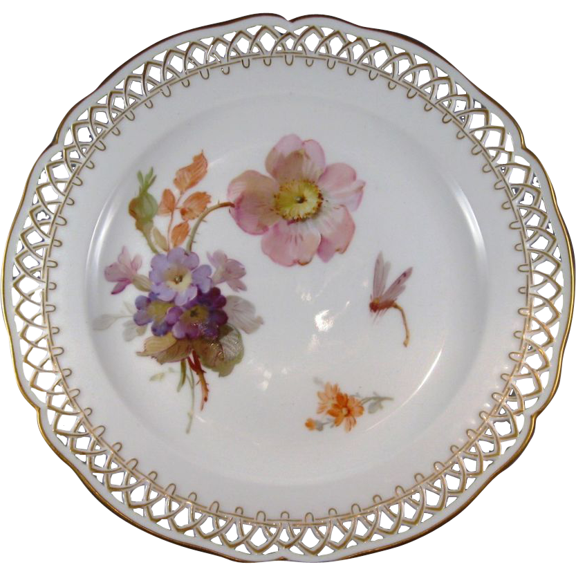 KPM Hand Painted Porcelain Plate with Flowers and Dragonfly C.1849-1870.  sc 1 st  Pinterest & KPM Hand Painted Porcelain Plate with Flowers and Dragonfly C.1849 ...