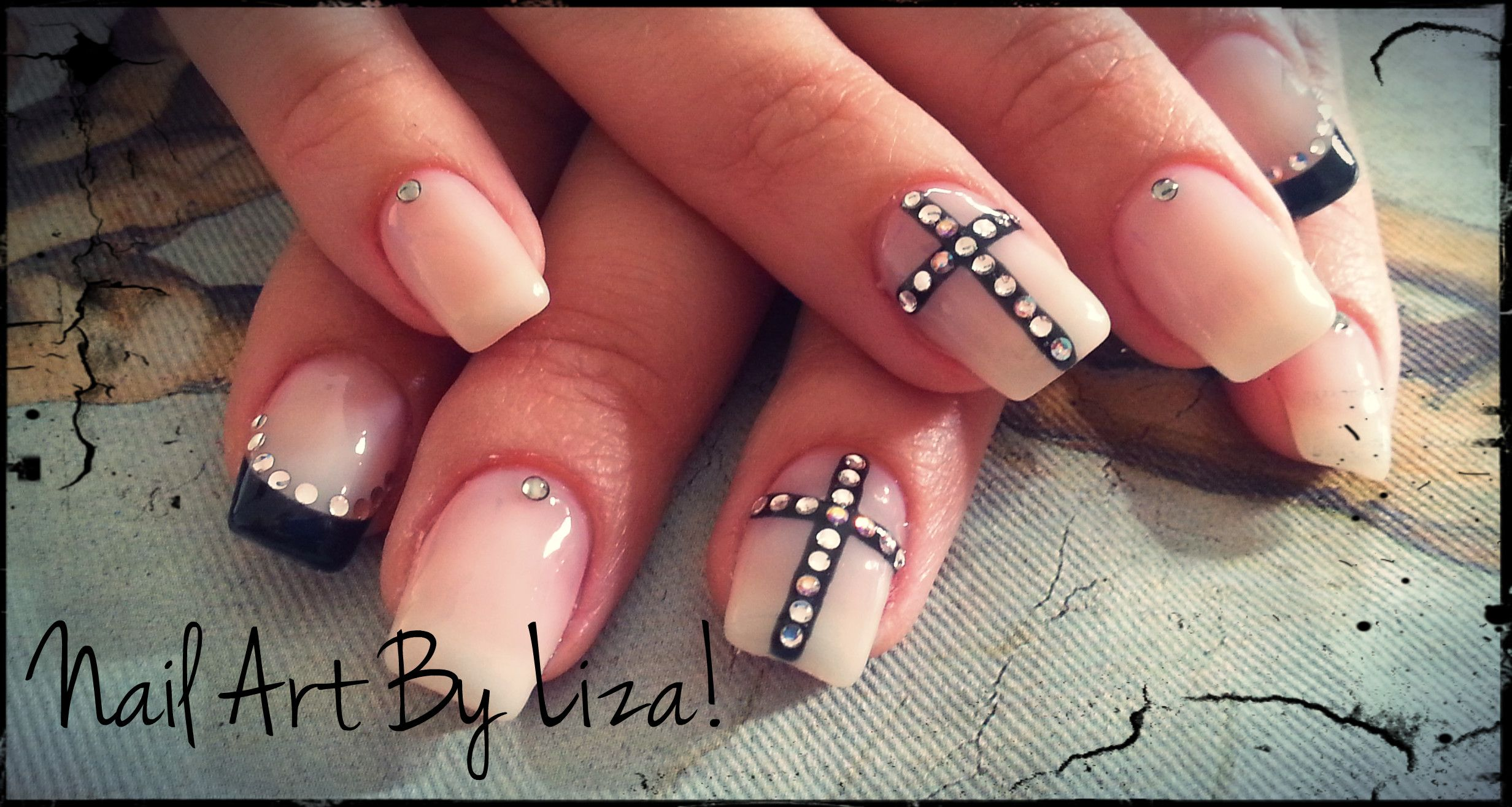 Black french, cross diamond nail art!! | Let\'s Do Some Nail Art ...