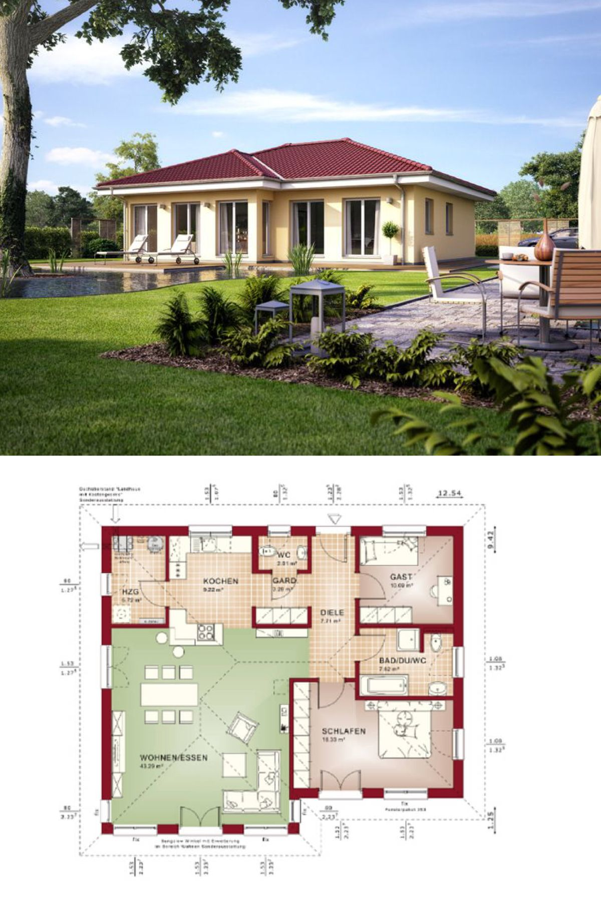 Bungalow Fassade bungalow haus evolution 100 v2 mit grundriss bien zenker