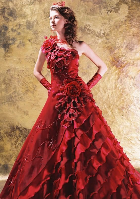 Wedding Dresses Gowns: Beautiful Red Rose Bridal Dress Gown | Some ...