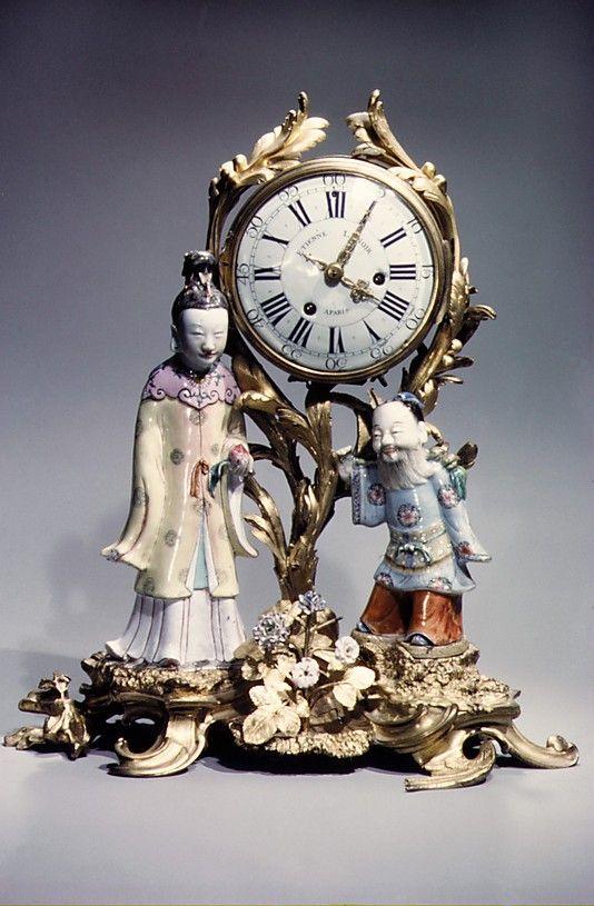 Mantel clock - Clockmaker: Étienne I Le Noir (1675–1739) Date: ca. 1745–49 Culture: French (Paris) Medium: Gilt bronze, porcelain
