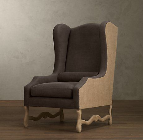 wing chair with belgian linen and burlap side, back and piping.....love it!