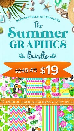 The Summer Graphics Bundle | Designbundles