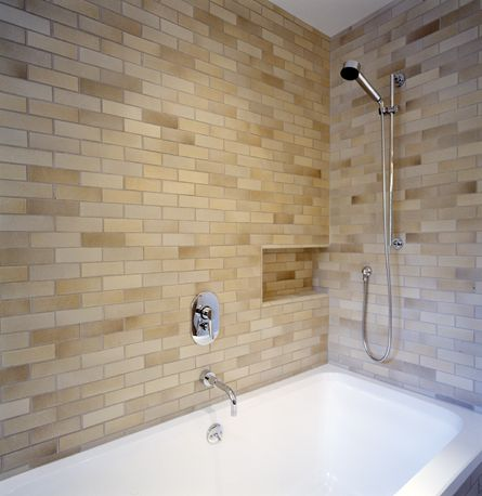 Bath Wall Using 3x9 Tile From The Classic Field Collection In Sand Rutile Shower Tile Bathroom Colors Trendy Bathroom Tiles