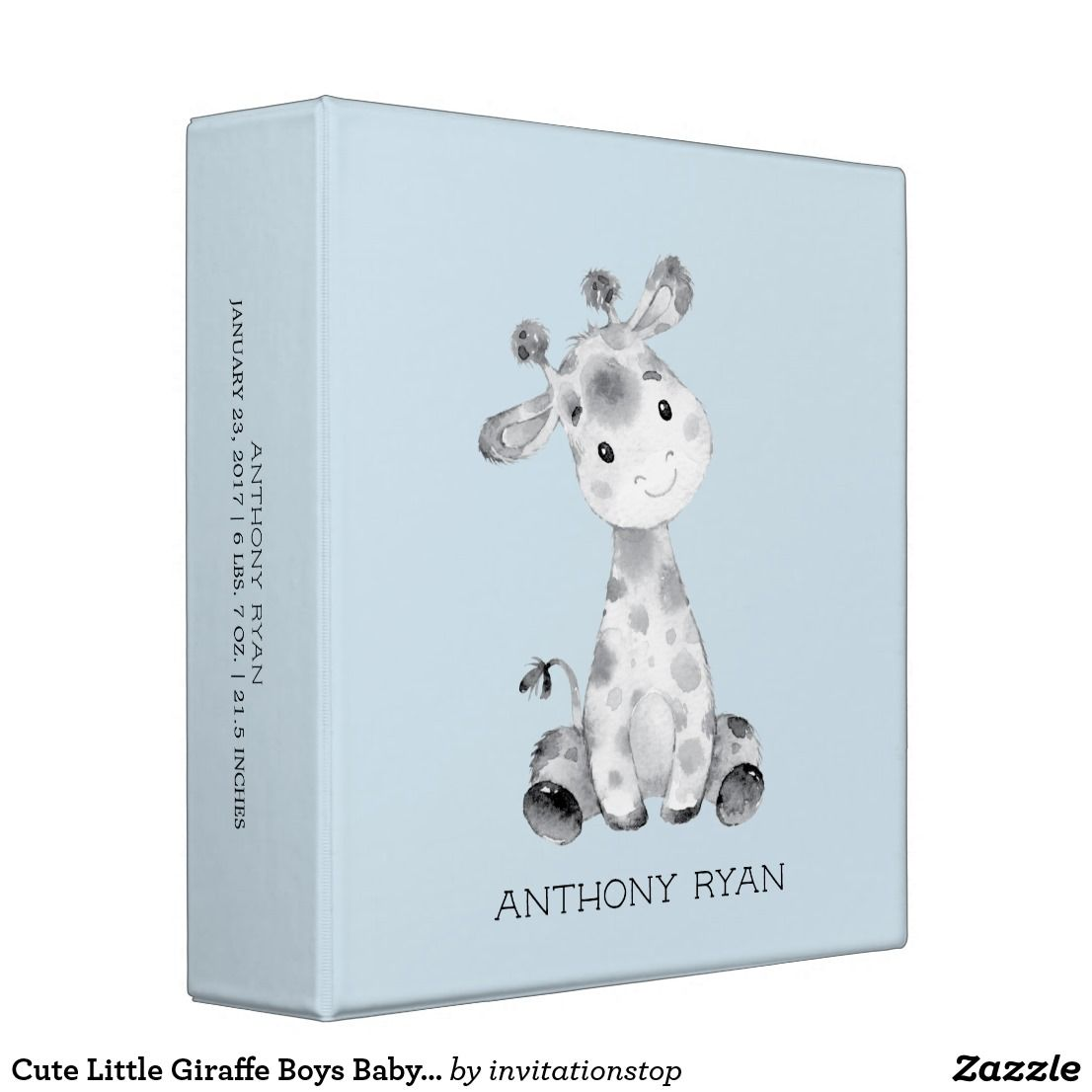 cute little giraffe boys baby photo album binder  baby