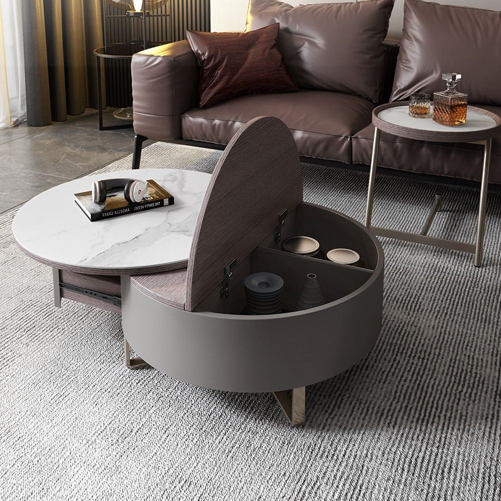 Gray Round Swivel Coffee Table With Storage Drawer 2 Piece Set White Stone In 2021 Round Coffee Table Living Room Coffee Table Sectional Coffee Table [ 1000 x 1000 Pixel ]