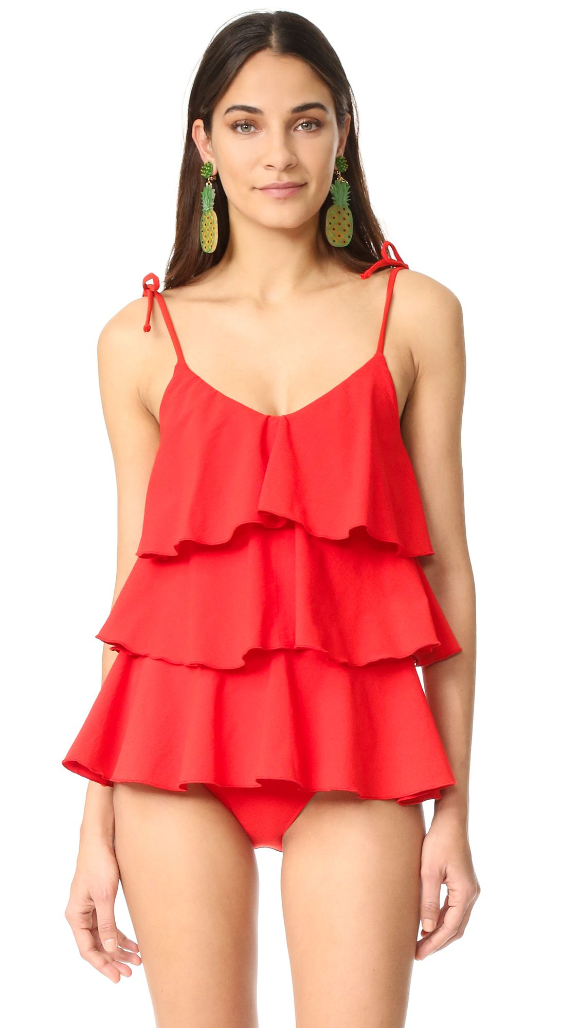 49b6eefb6e2bf9 Lisa Marie Fernandez Imaan Ruffle Swimsuit - Tomato Crepe. A playful Lisa  Marie Fernandez one piece swimsuit with flirty ruffles. Adjustable shoulder  ties.