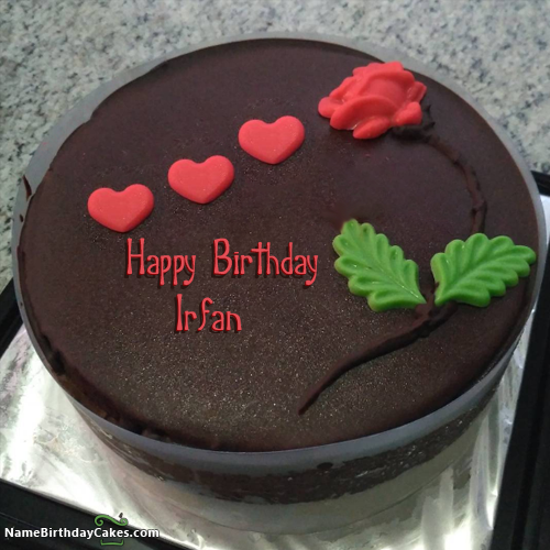 Happy Birthday Irfan Video And Images Happy Birthday Cakes Cake Name Novelty Birthday Cakes