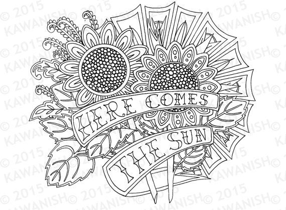 Here Comes The Sun Sunflowers Adult Coloring Page Gift Wall Art