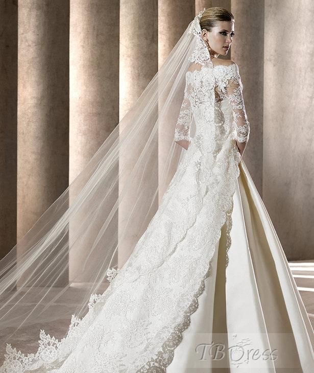 Fashion A-line Bateau Wedding Dresses with Lace Jacket and Train