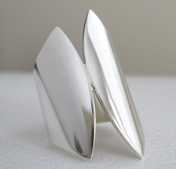 VERKOOP brede Zilveren Ring uniek ontwerp door JenniferWoodJewelry