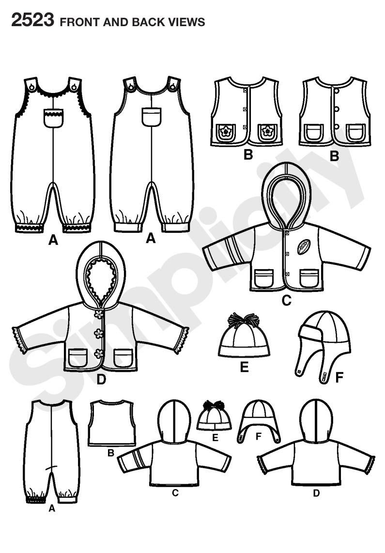 Babies overalls, jacket or vest Sewing Pattern 2523