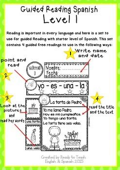 Spanish Reading - Guided Reading Passages - Level 1 FREE