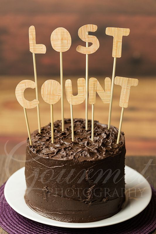 Chocolate birthday cake with Lost Count Hand drawn and cut Lost