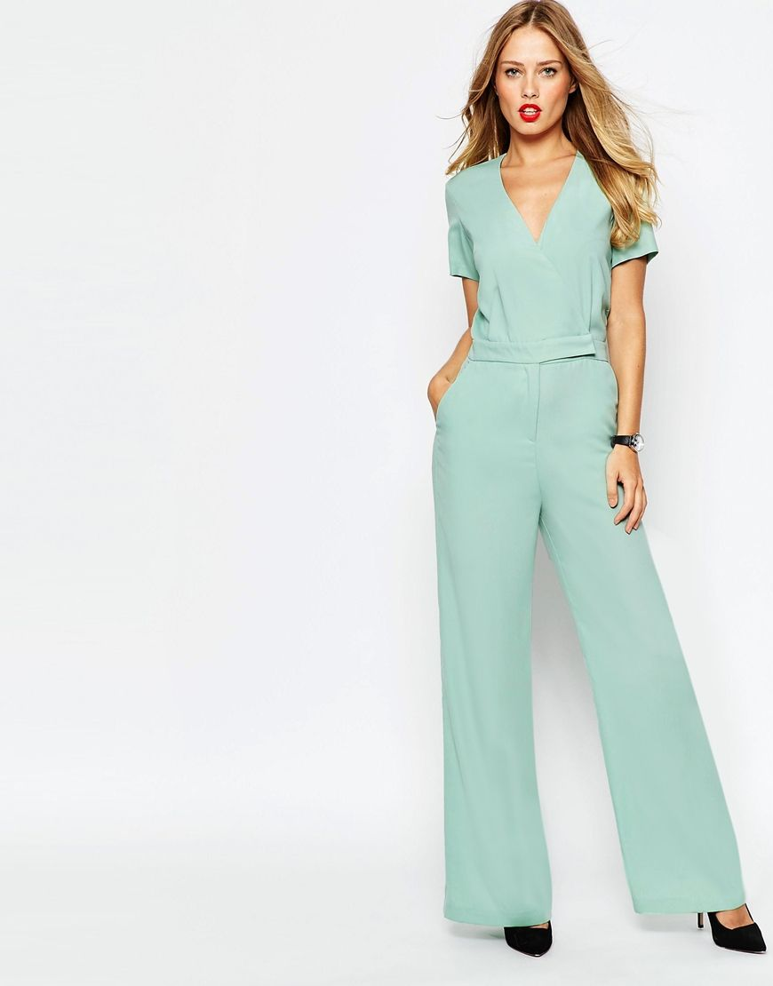 c5d3a171d828 1930s style ASOS Tailored Wrap Front Jumpsuit - Mint  90.00 AT  vintagedancer.com