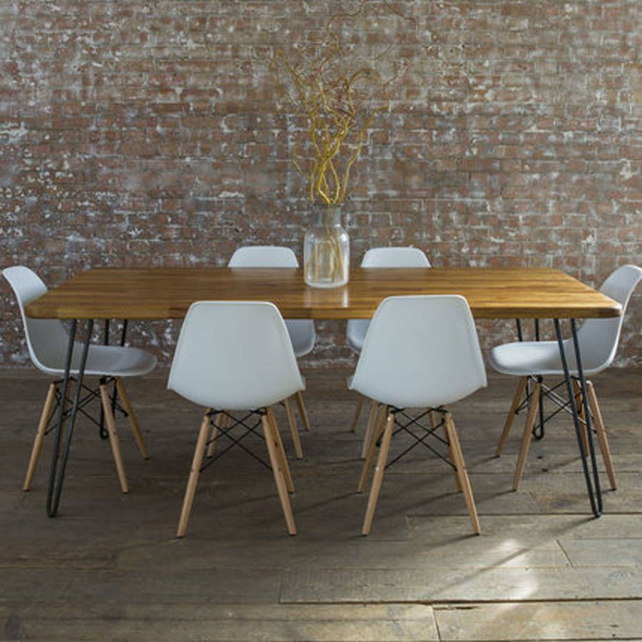 Iroko Midcentury Modern Hairpin Leg Dining Table Modern Kitchen