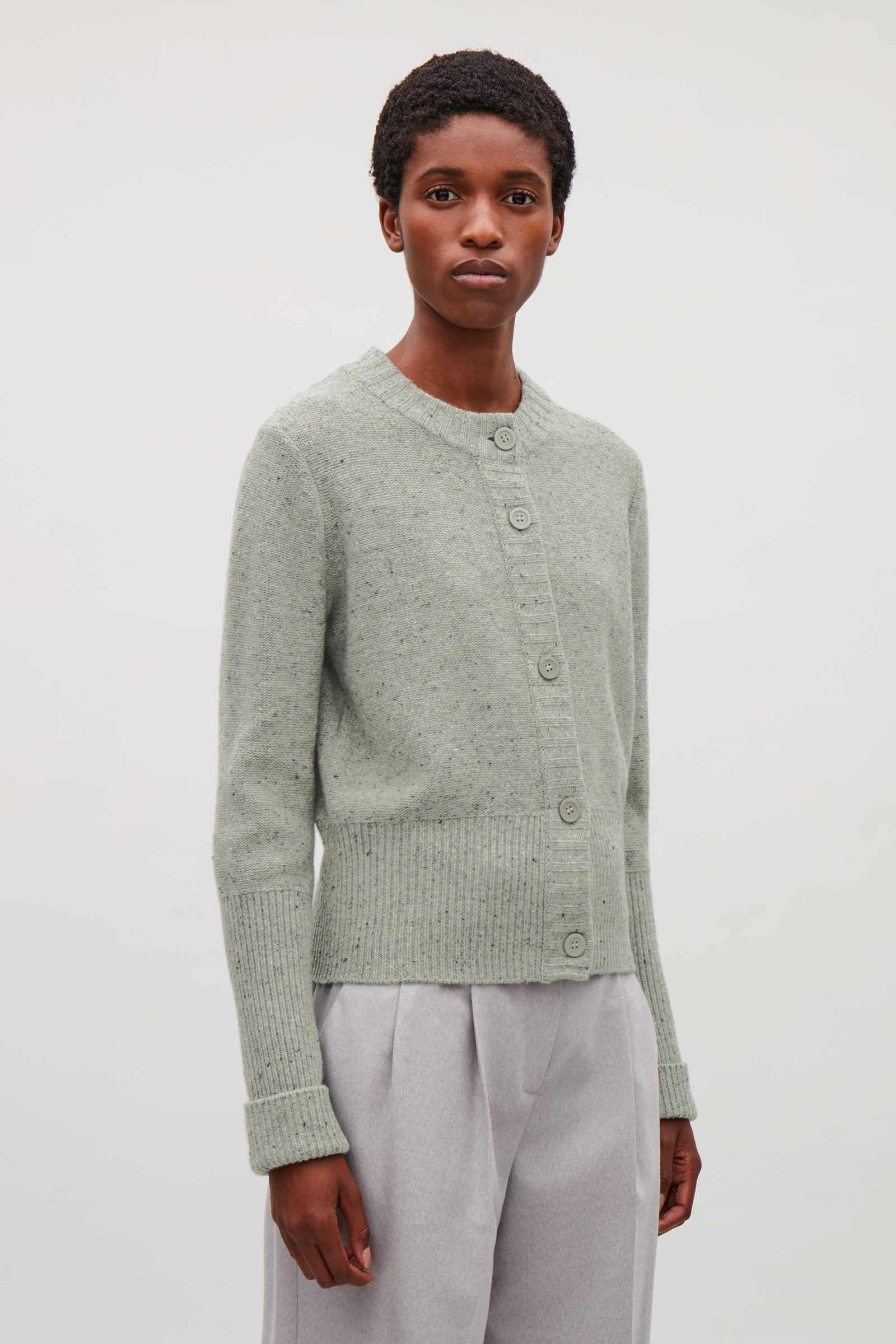 COS image 2 of Speckled reverse-knit cardigan in Light green