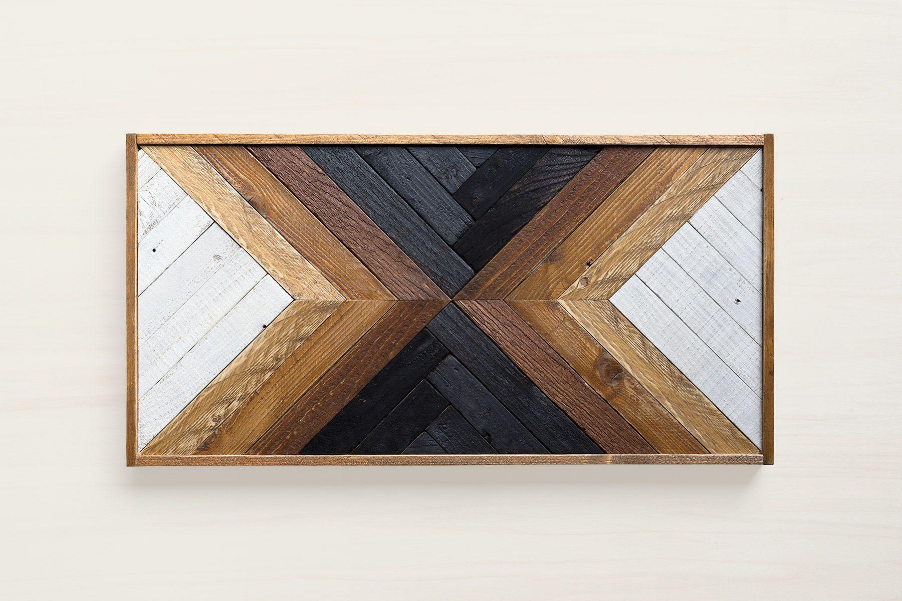 Maka reclaimed wood wall art geometric wood art art deco