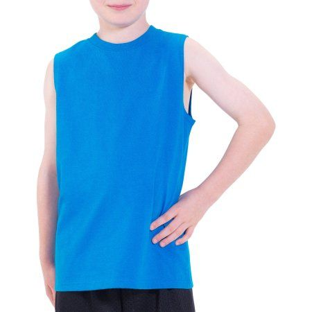 1ae3ce3b Fruit Of The Loom Fol Muscle Parrot Blue. Fruit of the Loom Boys Sleeveless  Tee with Hemmed Armhole ...