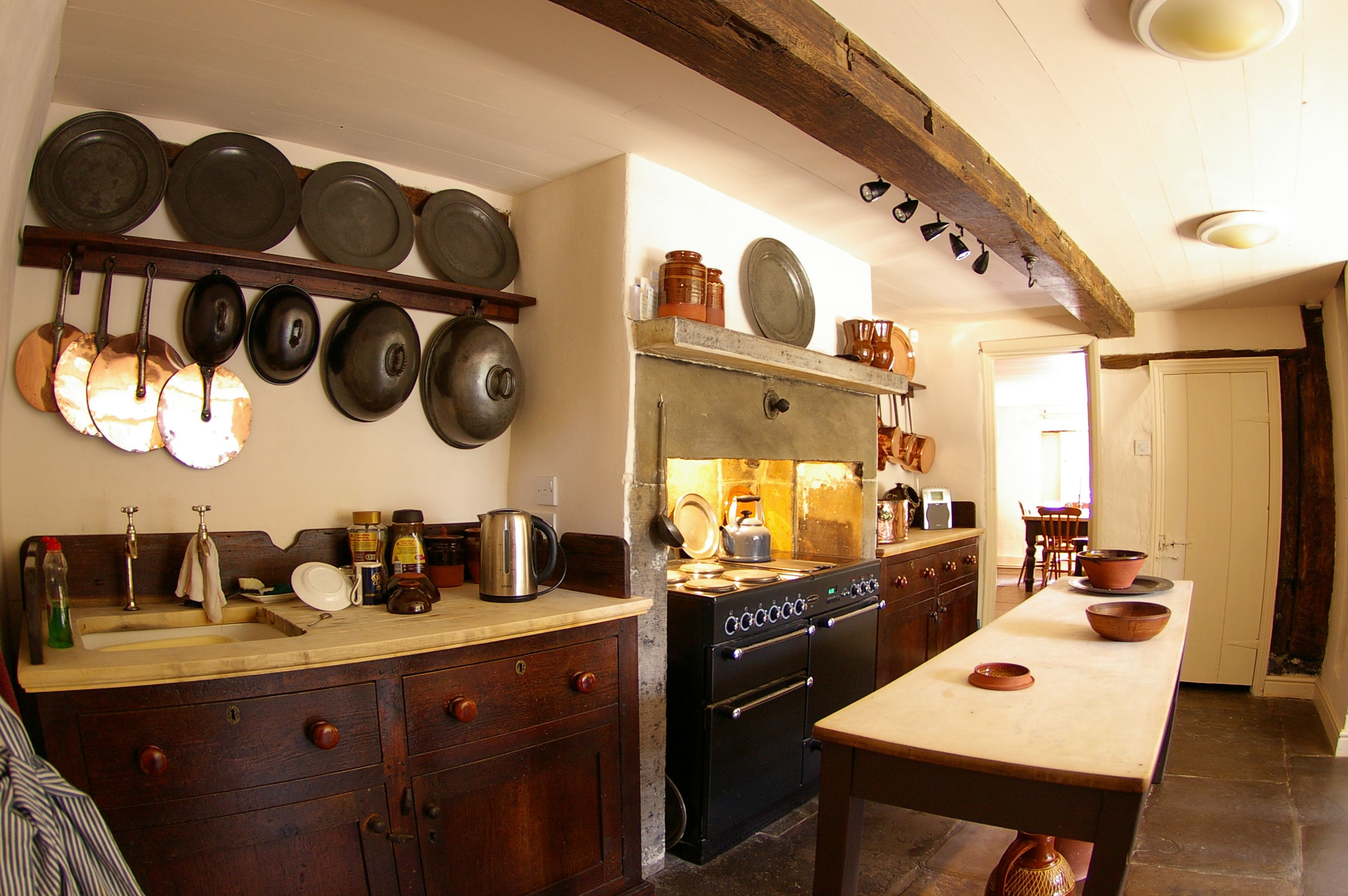 Old Style Kitchens Early Kitchen Exposed Beam Pewter Wood Counter Tops  Home