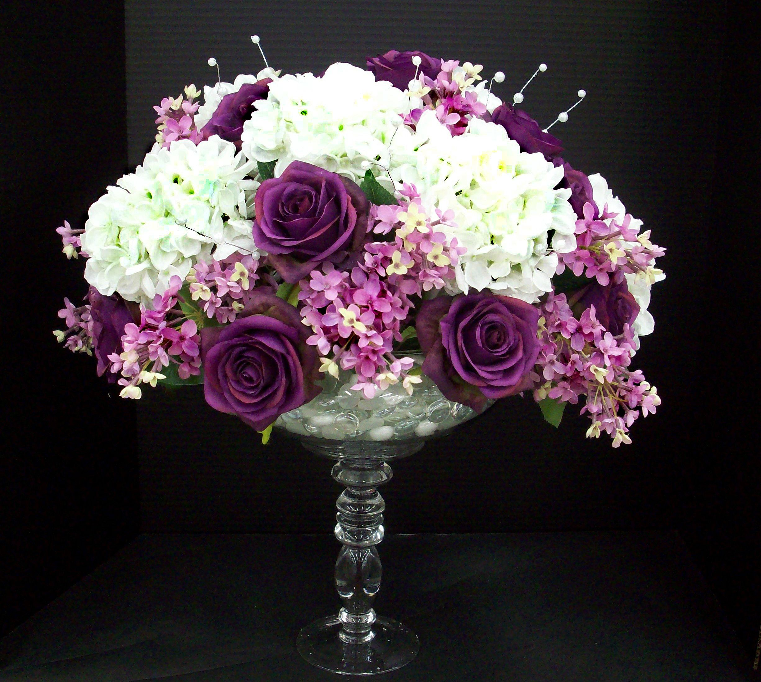 Purple Rose Lilac Centerpiece Designed By Karen B Ac Moore Purple Rose  Lilac Centerpiece Designed By