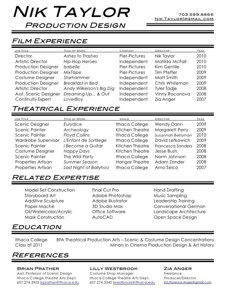 Film Amp Theatre Resume Crew Example Media Entertainment Sample