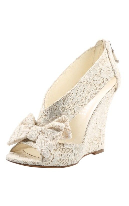 cd85da1ae2a82 Bow Lace Wedges - would make comfy bridal shoes