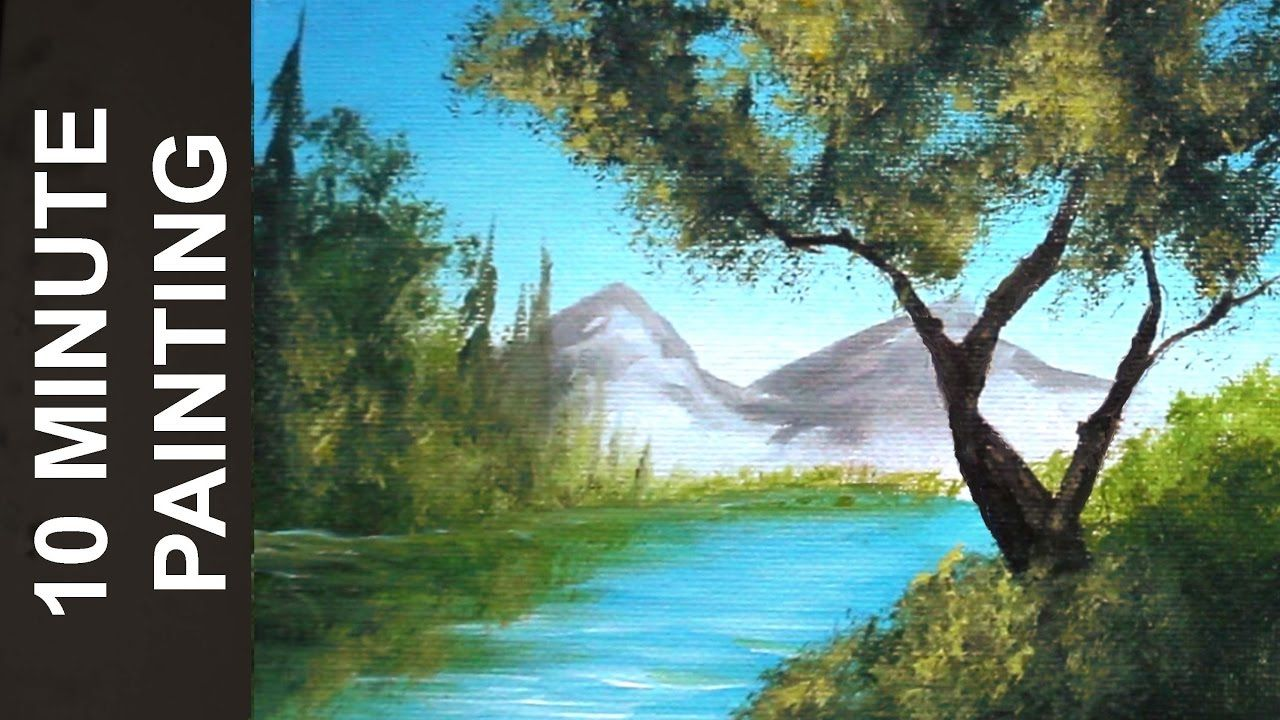 Painting Trees On The Lake And Distant Mountains With Acrylics In