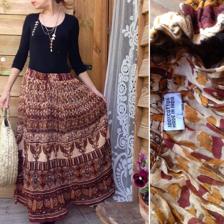 d8f525caa8a 70s Indian VTG cotton gauze cotton hippie gypsy ETHNIC festival skirt