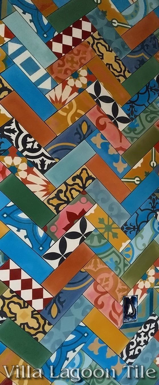 """The very talented SF Design Build team created a herringbone patterned accent wall from our in-stock """"Colorful Patchwork"""" cement tile. ~ETS #tiles"""