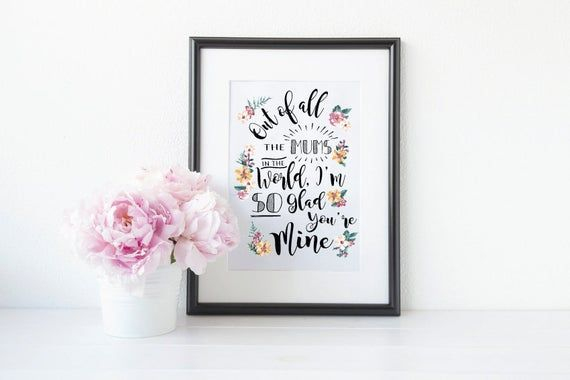 Floral Best Mum, Mother, Mam Wall Art Gift - Can Be Personalised for Godmothers, Aunties, Grandmothers, Nannas, Step Mums etc