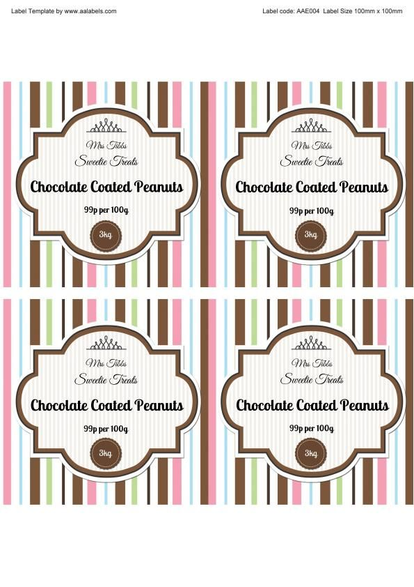 Free fillable and autofillable Chocolate Peanuts Sweet Jar Label - package label template