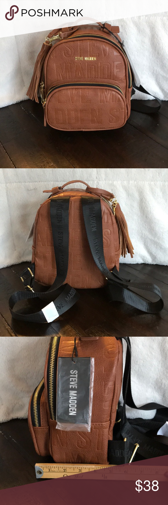 "9bdbf2f6530c Signature Logo Steve Madden Mini Backpack NWT Women s signature logo Steve  Madden Mini Camel Backpack  Purse with Tassel Length. 8"" Width (including  front ..."